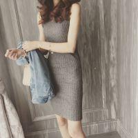 春秋针织无袖连衣裙女打底包臀紧身连体包裙夏季修身中长款背心裙