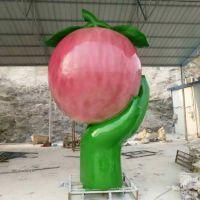 大型玻璃钢水果雕塑树脂纤维苹果桃子模型农场采摘园景观摆件
