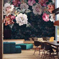 大型3d壁画油画花卉墙纸 手绘卧室电视背景墙壁纸 美式复古墙布