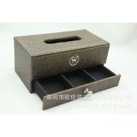 深圳工厂直销欧式pu纸巾盒 高档皮革抽纸盒 桌面遥控收纳纸盒定做