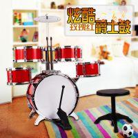 新款全塑料玩具架子鼓儿童升级版爵士鼓仿真打鼓玩具音乐练习鼓