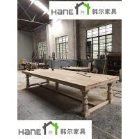 韩尔餐饮家具定制 HR-13西餐厅实木桌子 西餐厅实木长桌定制