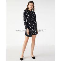 广州服装厂欧美新款不规则拼接褶皱波点连衣裙