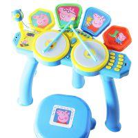 小猪佩奇架子鼓儿童爵士鼓多功能电子鼓敲打乐器带麦克风音乐玩具