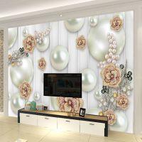 5d欧式软包墙布立体珠宝花朵电视背景墙壁纸卧室床头壁画定制墙纸