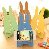 韩国创意数码配件可爱越狱兔手机支架木质手机架手机托架礼物奖品