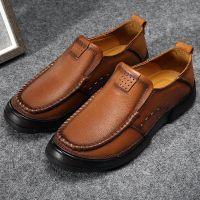 头层牛皮户外休闲鞋真皮软皮鞋套脚商务休闲潮流男鞋一脚蹬懒人鞋