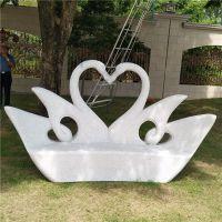 惠安厂家直销石雕天鹅造型石座椅 花岗岩靠椅 园林广场摆件工艺品可定制