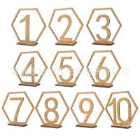 木质婚礼数字桌牌、席位牌 餐桌号码牌 婚礼宴会装饰 木质工艺品