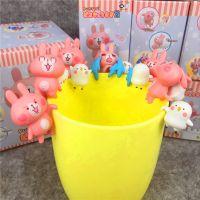 日本卡通 卡娜赫拉 粉红兔子杯缘 茶友杯挂公仔 全6款 娃娃机彩盒