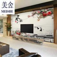 整张无缝环保真丝布电视背景墙画水墨牡丹花墙布大型壁画壁纸墙纸