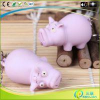 2015卡通小猪创意钥匙扣 批发定制 lED灯发声发光动物韩国猪挂件