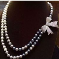 diy饰品配件材料批 微镶满钻珍珠项链流苏吊坠