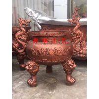 供应铸铁圆形平口双龙香炉,安徽土地庙香炉报价