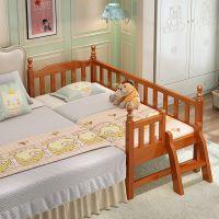 实木儿童床带护栏单人男孩女孩公主床小孩床加宽拼接床小床婴儿床