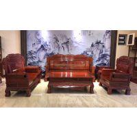 2019红木家具款式走势 名琢世家刺猬紫檀中式和谐沙发7件套