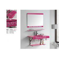 生产批发贴牌卫生80尺寸浴室柜洗脸台梳妆台玻璃新款不锈钢支架柜