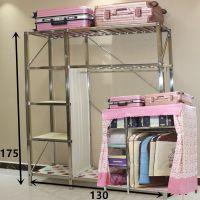 简易衣柜布衣柜不锈钢钢架加固螺丝组装折叠挂衣橱收纳单双人儿童
