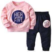 童装外贸品牌 女童粉色字母套装 纯棉休闲家居服一件代发