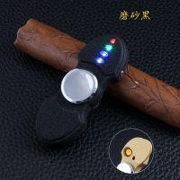 陀螺充电USB电子点烟器 指尖炫酷创意七彩跑马灯闪光 打火机