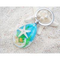 2018热销海洋动物标本钥匙扣 旅游纪念品批发 夜光海星琥珀钥匙扣