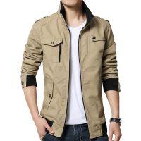 速卖通外贸新款秋季男士休闲纯棉夹克修身时尚水洗男式韩版外套