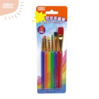 儿童6色美术彩杆尼龙笔刷水粉水彩绘画画笔三角笔排笔勾线笔