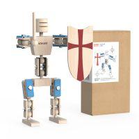 小也兔原创木制机器人玩具摆件圣诞礼物儿童DIY拼装玩具中世纪骑士