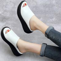 凉拖女夏外穿时尚2018新款牛皮凉拖鞋坡跟厚底妈妈舒适真皮拖鞋女