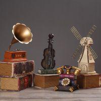 艺术摆台工艺品萨克斯礼物小提琴相机古典复古小摆件迷你70回忆