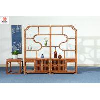 刺猬紫檀如意博古架-古典中式博古架-花梨木家具