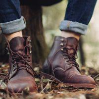 一件代发马丁靴男靴子男士皮靴英伦系带真皮高帮鞋休闲工装靴男鞋