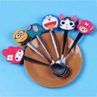 韩式卡通儿童不锈钢勺子调羹汤勺饭勺地摊2元店日用餐具货源批发