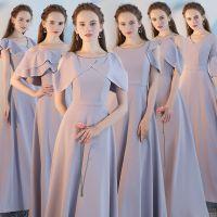 伴娘服2017新款长款修身伴娘团姐妹裙灰色显瘦连衣裙宴会晚礼服女