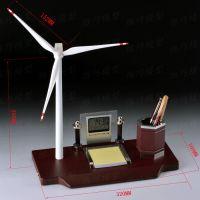 商务礼品创意笔筒时钟摆件办公室装饰摆件风车风力发电机桌面摆件