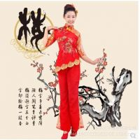 秧歌舞蹈演出服女装民族舞台表演服饰腰鼓舞扇子舞服装2016新款