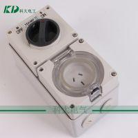 4孔32A工业防水插座 奥标头插座带切断开关电源插座 立式防水插座