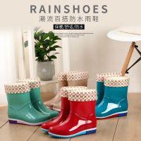 厂价批发时尚胶鞋新款休闲女士防滑耐磨雨鞋中筒女式成人雪地雨靴