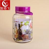 带龙头5升L 玻璃瓶葡萄酿酒坛子酵素桶密封罐杨梅酒泡酒瓶方格