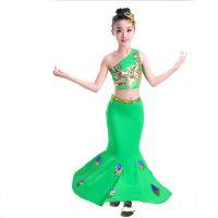 儿童单肩傣族舞蹈服鱼尾裙弹力孔雀舞演出服装女童少儿民族表演服