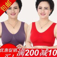 中老年人文胸无钢圈薄款红色背心式运动大码胸罩妈妈内衣女无钢圈