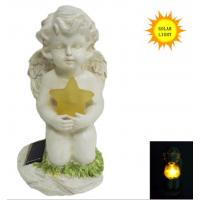 正九生活定制新款欧美风格树脂led太阳能坐姿天使看书灯户外花园工艺品摆件抱五角星天使