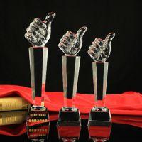 厂家批发K9水晶大拇指奖杯定制学校公司员工颁奖典礼活动免费刻字