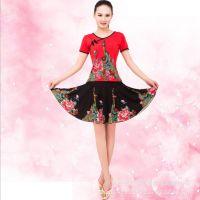 夏季广场舞服装套装 新款 定位孔雀印花 中老年人健身衣 表演服