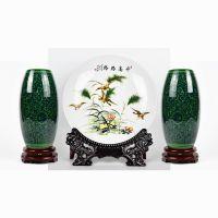 陶瓷花瓶三件套摆件客厅插花简约现代景德镇瓷器博古架工艺品瓷瓶