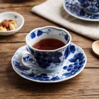 日本进口蓝凛堂 陶瓷咖啡杯碟 日式青花瓷咖啡用具 红茶杯