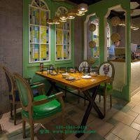 全实木饭桌老榆木桌子餐桌椅组合批发餐厅饭店桌椅餐桌火锅酒店 美式乡村