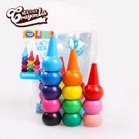 儿童彩色蜡笔 12色蜡笔套装 无毒宝宝食用蜡笔 优质3D手指蜡笔