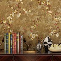 美式乡村复古纯纸壁纸客厅卧室电视背景墙田园藤蔓梅花环保墙纸
