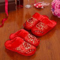 结婚庆喜庆包跟棉拖鞋红色老公老婆拖鞋秋冬季防滑厚底情侣毛毛鞋
